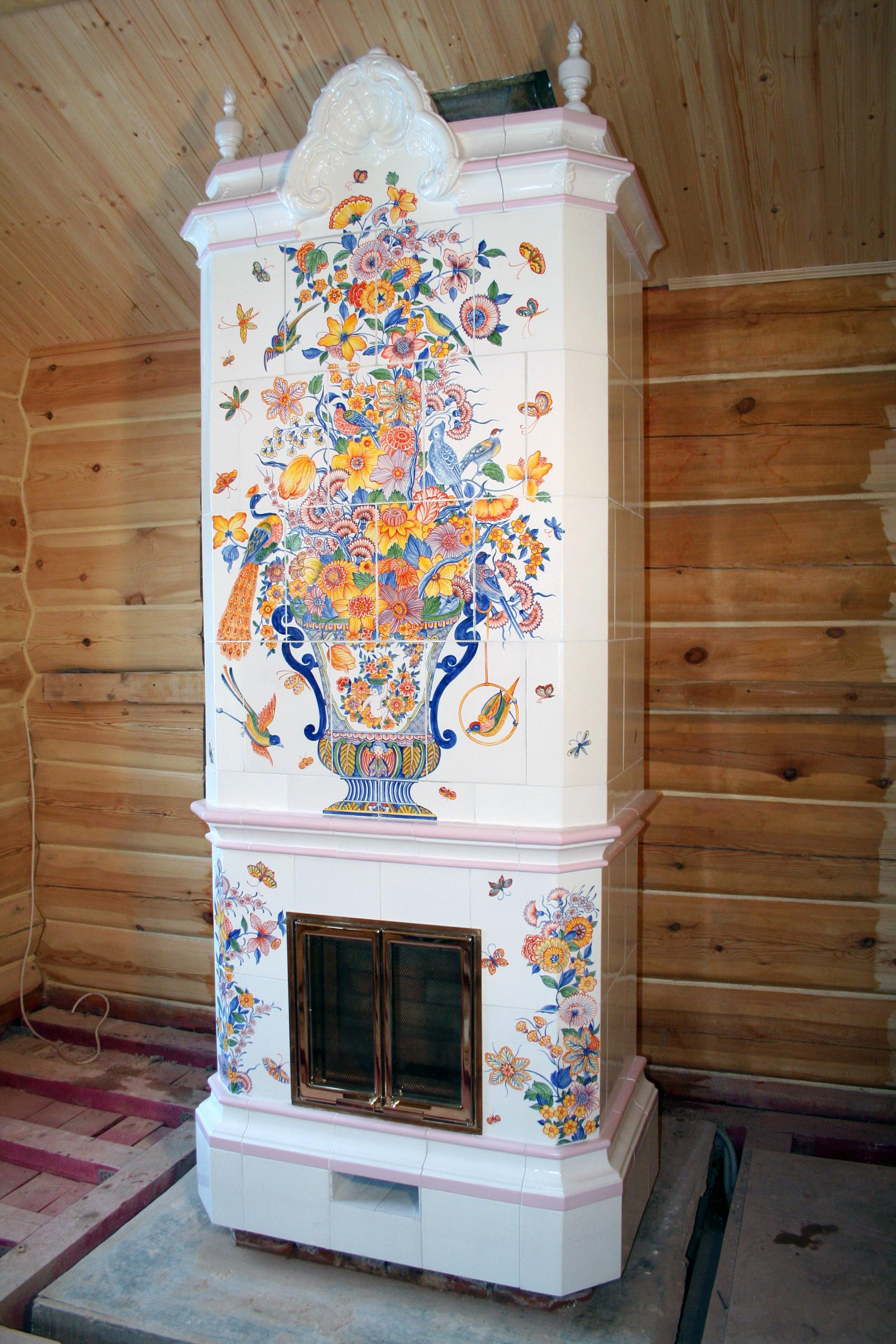 Облицовка печей и каминов изразцами Кладка камина